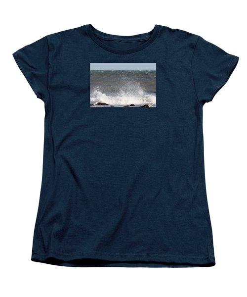 Waves Pounding The Montauk Surf Women's T-Shirt (Standard Cut) by John Telfer