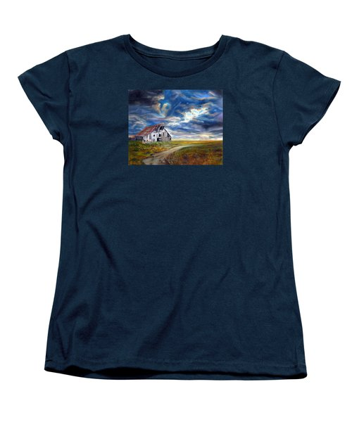 Women's T-Shirt (Standard Cut) featuring the painting Weathered Barn by LaVonne Hand