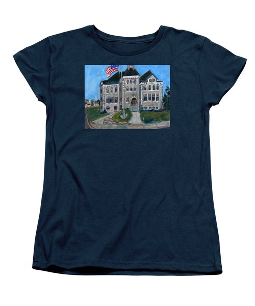 Women's T-Shirt (Standard Cut) featuring the painting West Hill School In Canajoharie New York by Betty Pieper