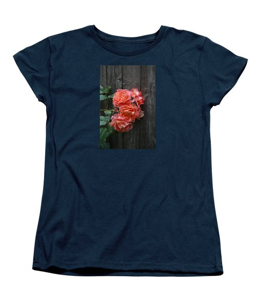Women's T-Shirt (Standard Cut) featuring the photograph Westerland Rose Wood Fence by Tom Wurl