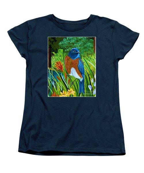 Women's T-Shirt (Standard Cut) featuring the painting Western Bluebird by Jennifer Lake