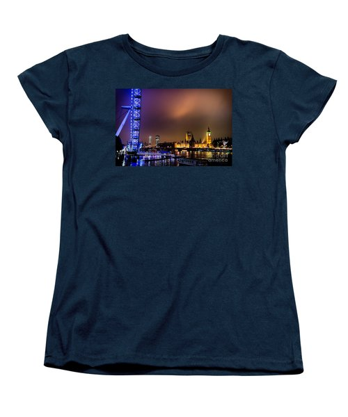 Women's T-Shirt (Standard Cut) featuring the photograph Westminster And Eye Night Glow by Matt Malloy