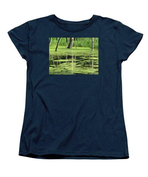 Women's T-Shirt (Standard Cut) featuring the photograph Wetland Reflection by Ann Horn