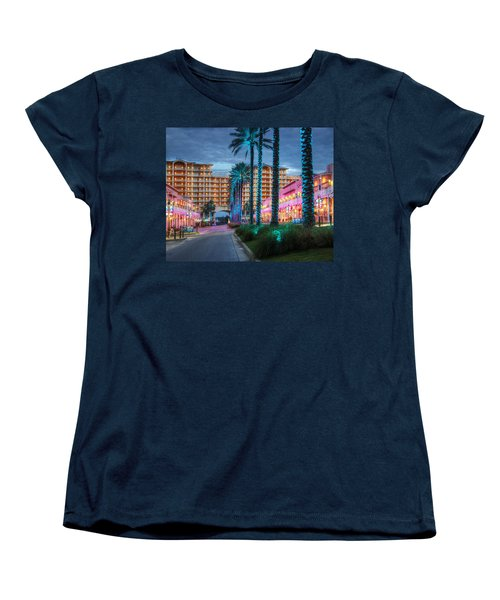 Wharf Blue Lighted Trees Women's T-Shirt (Standard Cut) by Michael Thomas