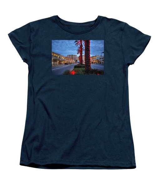 Wharf Red Lighted Trees Women's T-Shirt (Standard Cut) by Michael Thomas