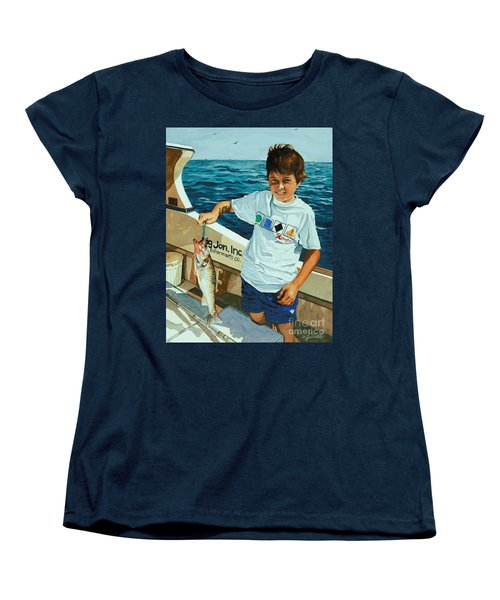 Women's T-Shirt (Standard Cut) featuring the painting What A Catch by Barbara Jewell