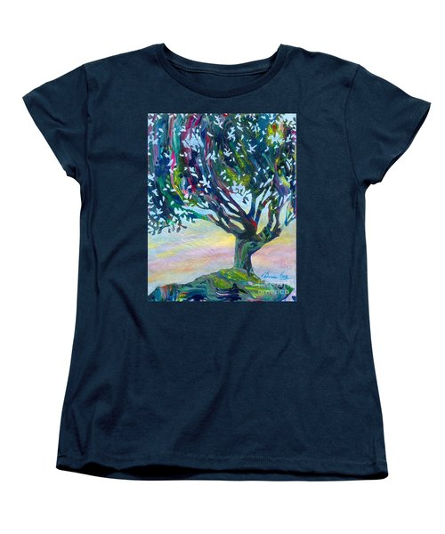 Whimsical Tree Pastel Sky Women's T-Shirt (Standard Cut) by Denise Hoag