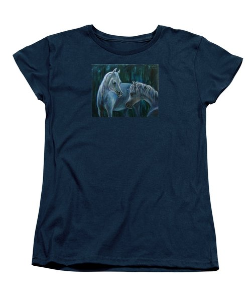 Women's T-Shirt (Standard Cut) featuring the painting Whispering... by Xueling Zou