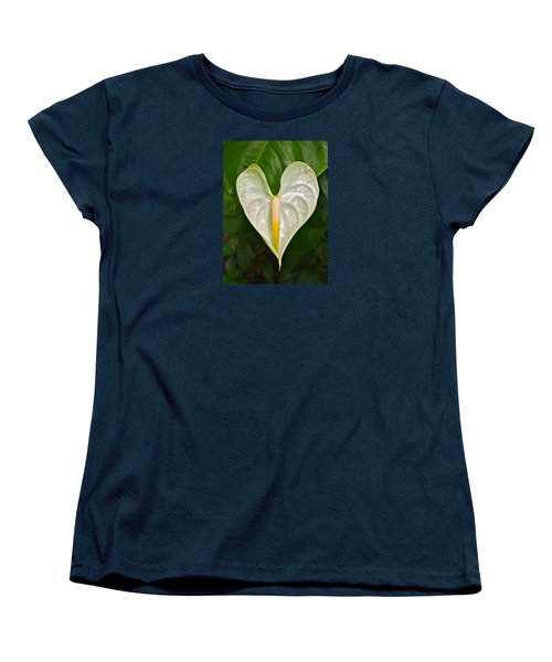 White Anthurium Heart Women's T-Shirt (Standard Cut) by Venetia Featherstone-Witty