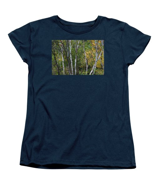 White Birches In The Woods Women's T-Shirt (Standard Cut) by Denyse Duhaime