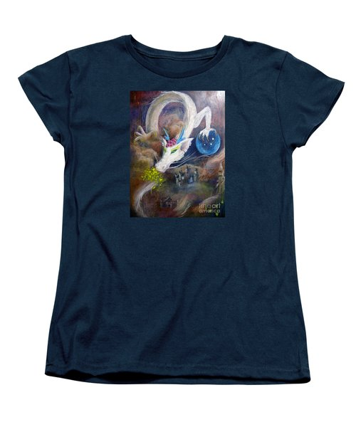 Women's T-Shirt (Standard Cut) featuring the painting White Dragon by Jieming Wang