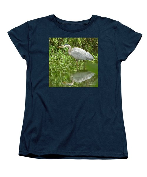 Women's T-Shirt (Standard Cut) featuring the photograph White Egret Double  by Susan Garren