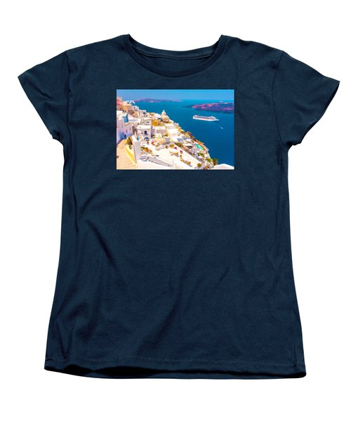 White Houses Of Santorini Women's T-Shirt (Standard Cut) by Lanjee Chee