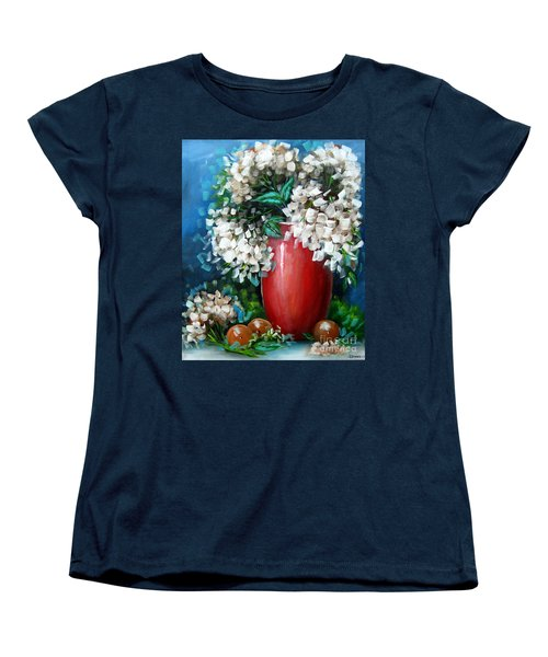 Women's T-Shirt (Standard Cut) featuring the painting White Hydrangeas by Patrice Torrillo