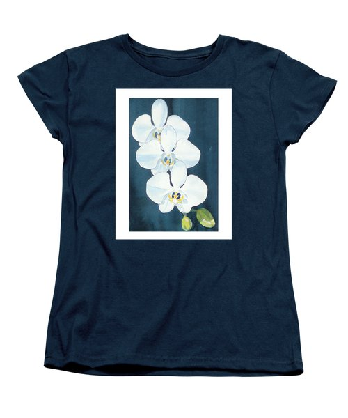 Women's T-Shirt (Standard Cut) featuring the painting White Orchids by C Sitton