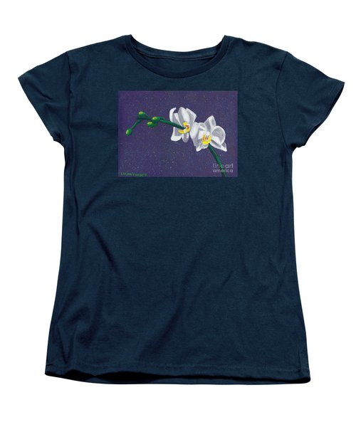 Women's T-Shirt (Standard Cut) featuring the painting White Orchids On Dark Blue by Laura Forde