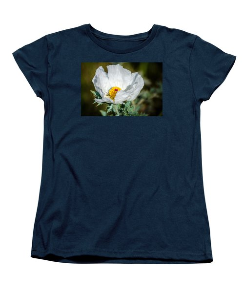 White Prickly Poppy Wildflower Women's T-Shirt (Standard Cut) by Debra Martz