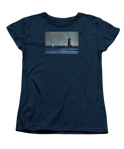 Women's T-Shirt (Standard Cut) featuring the photograph White Sails On Blue  by Jeff Folger