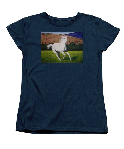 Women's T-Shirt (Standard Cut) featuring the painting White Stallion by Norm Starks