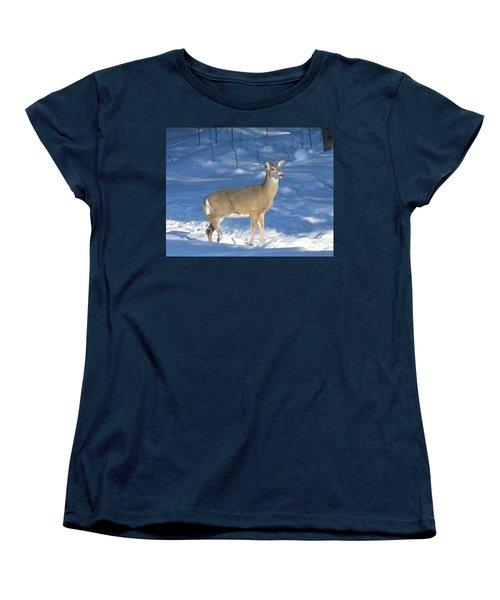 Women's T-Shirt (Standard Cut) featuring the photograph White Tail Deer by Brenda Brown