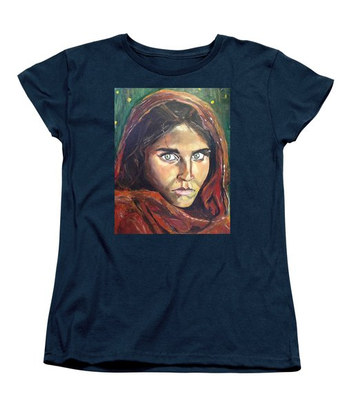 Women's T-Shirt (Standard Cut) featuring the painting Who's That Girl? by Belinda Low