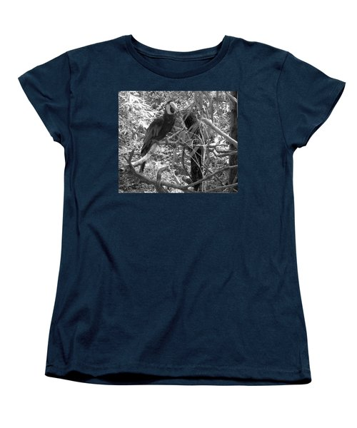 Women's T-Shirt (Standard Cut) featuring the photograph Wild Hawaiian Parrot Black And White by Joseph Baril