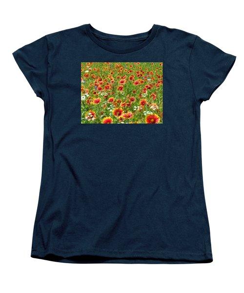 Women's T-Shirt (Standard Cut) featuring the photograph Wild Red Daisies #3 by Robert ONeil