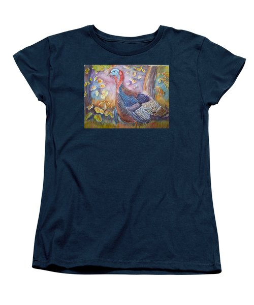 Women's T-Shirt (Standard Cut) featuring the painting Wild Turkey In The Brush by Belinda Lawson