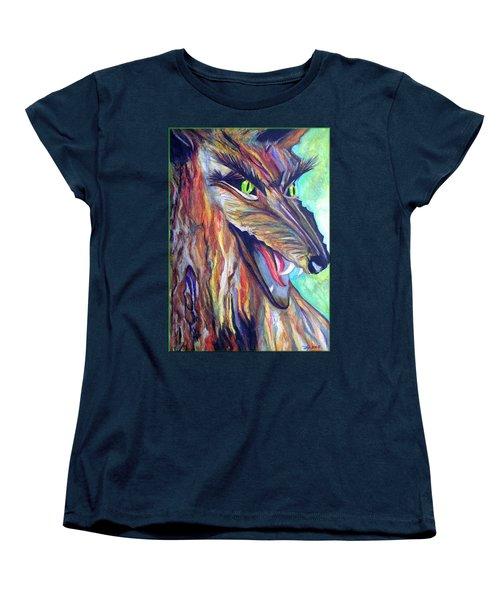 Women's T-Shirt (Standard Cut) featuring the drawing Wild Wolf by Daniel Janda