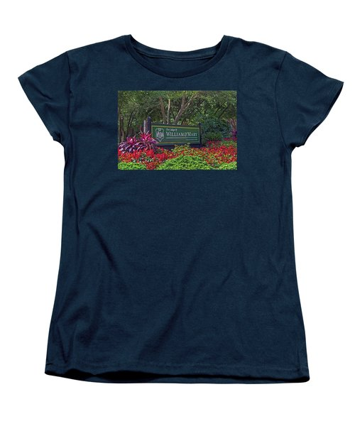 Women's T-Shirt (Standard Cut) featuring the photograph William And Mary Welcome Sign by Jerry Gammon