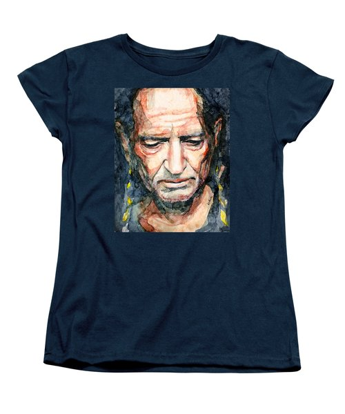 Women's T-Shirt (Standard Cut) featuring the painting Willie Nelson  by Laur Iduc