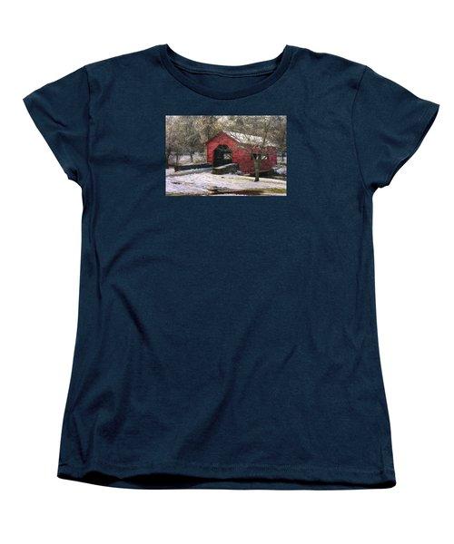 Winter Crossing In Elegance - Carroll Creek Covered Bridge - Baker Park Frederick Maryland Women's T-Shirt (Standard Cut) by Michael Mazaika