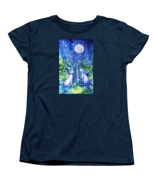 Winter Descends As Two Hares Contemplate An Owl By Moonlight Women's T-Shirt (Standard Cut) by Trudi Doyle