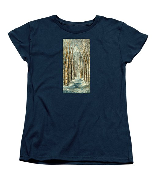 Women's T-Shirt (Standard Cut) featuring the painting Winter Dreams by Tatiana Iliina