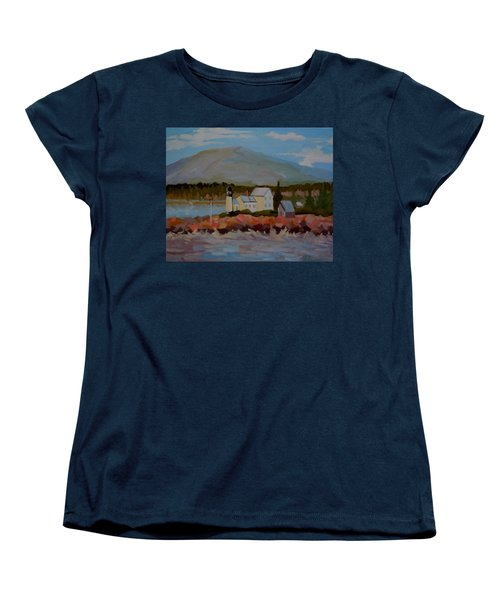 Women's T-Shirt (Standard Cut) featuring the painting Winter Harbor Light by Francine Frank