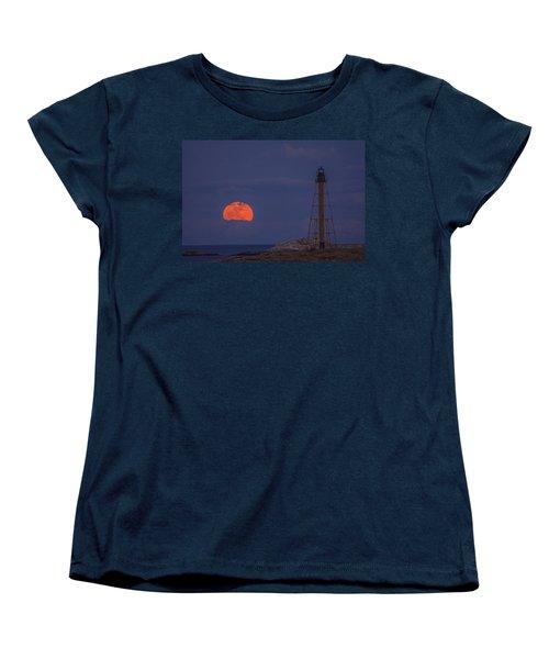 Winter Moon Rising Over Marblehead Light Women's T-Shirt (Standard Cut) by Jeff Folger