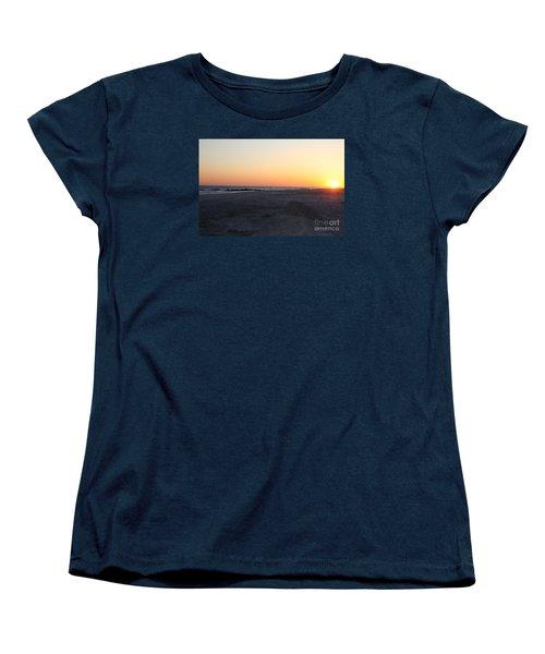 Winter Sunset On Long Beach Women's T-Shirt (Standard Cut) by John Telfer