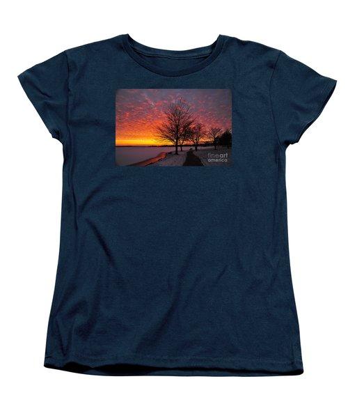 Women's T-Shirt (Standard Cut) featuring the photograph Winter Sunset by Terri Gostola