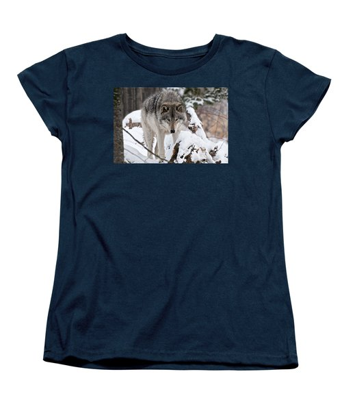 Women's T-Shirt (Standard Cut) featuring the photograph Winter Timber Wolf by Wolves Only