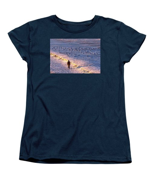 Women's T-Shirt (Standard Cut) featuring the photograph Winter Time At The Beach by Cynthia Guinn