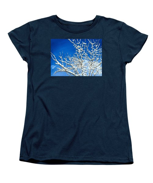 Women's T-Shirt (Standard Cut) featuring the painting Winter's Artistry by Barbara Jewell