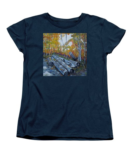 Women's T-Shirt (Standard Cut) featuring the painting Winter's Firewood by Marilyn  McNish