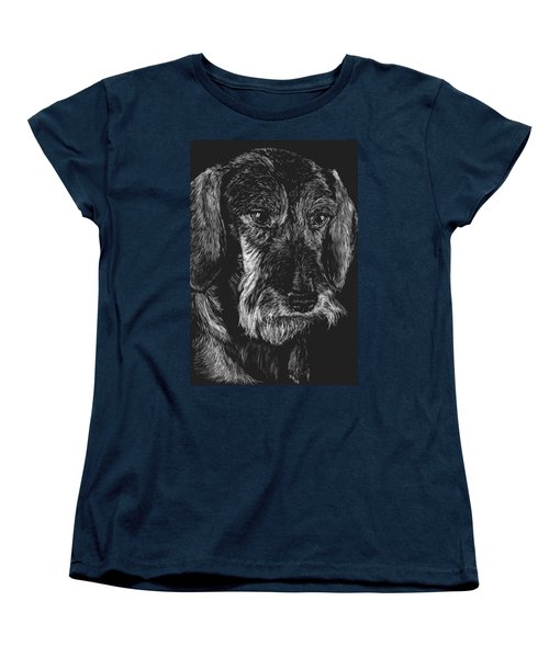 Women's T-Shirt (Standard Cut) featuring the drawing Wire Haired Dachshund by Rachel Hames