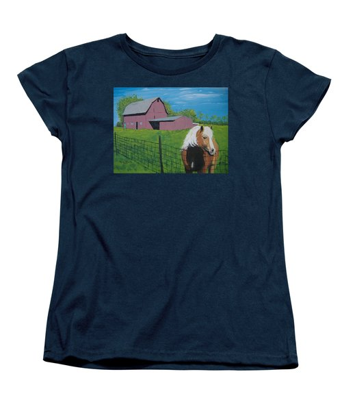 Women's T-Shirt (Standard Cut) featuring the painting Wisconsin Barn by Norm Starks