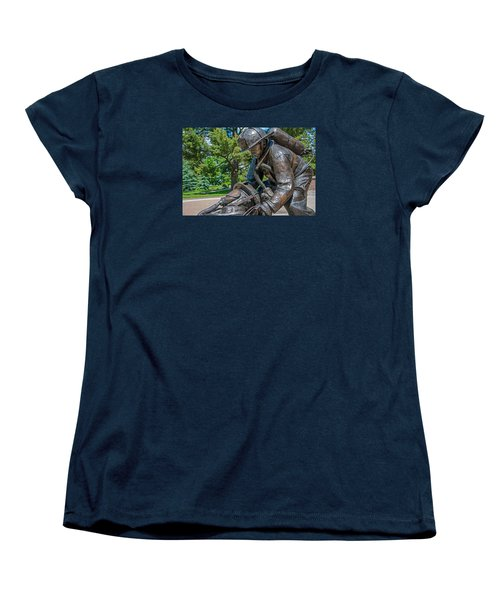 Women's T-Shirt (Standard Cut) featuring the photograph Wisconsin State Firefighters Memorial 4 by Susan  McMenamin