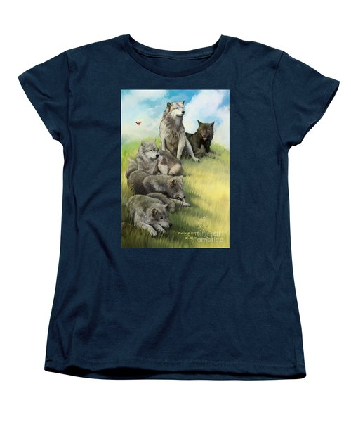 Women's T-Shirt (Standard Cut) featuring the painting Wolf Gathering Lazy by Rob Corsetti