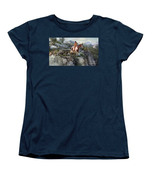 Women's T-Shirt (Standard Cut) featuring the painting Wolf Maiden by Rob Corsetti