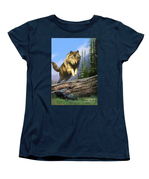 Women's T-Shirt (Standard Cut) featuring the painting Wolf Run by Rob Corsetti