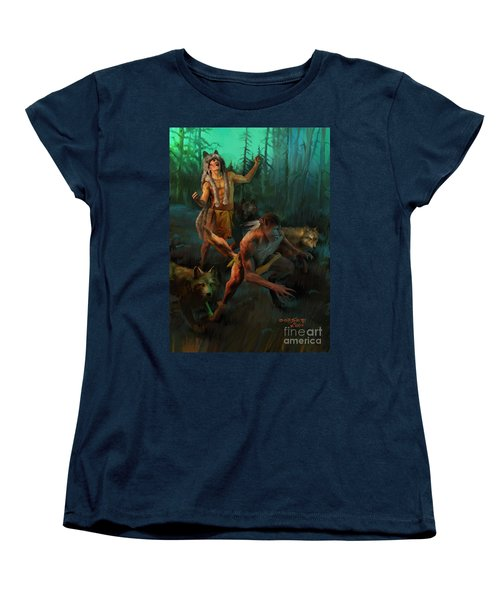 Women's T-Shirt (Standard Cut) featuring the painting Wolf Warriors Change by Rob Corsetti