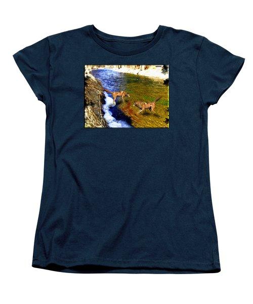 Women's T-Shirt (Standard Cut) featuring the digital art Wolves by Daniel Janda
